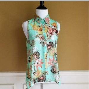 FOREVER 21 Floral Mint Collar Tank Top